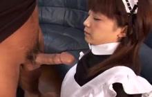 Japanese maid gives a blowjob
