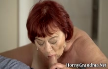 Mature grandma riding cock