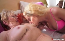 Blonde cutie eating a hairy old cunt