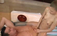 Skinny beauty gives a hot body and cock massage