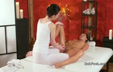 Amanda Black getting a hot lesbian massage by Daphne Angel