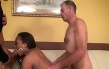 French Ebony Slut With 2 White Cock