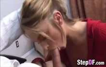 Horny stepdad ravishes a blonde teen