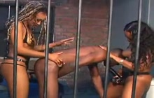 2 black girls pegging a guy