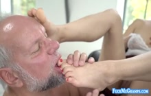 Dirty Old Perv Getting his cock pleased by college slut