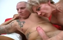 Tattooed man fucking two horny mature sluts