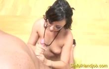 Super hot babe loves giving perfect handjob