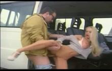 Hot blonde girl fucked in the van