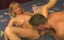 Mom rides young cock