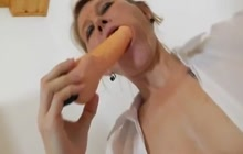 Horny teacher playing with sex toy