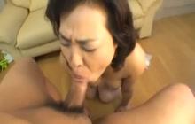 Japanese mature slut sucking dick